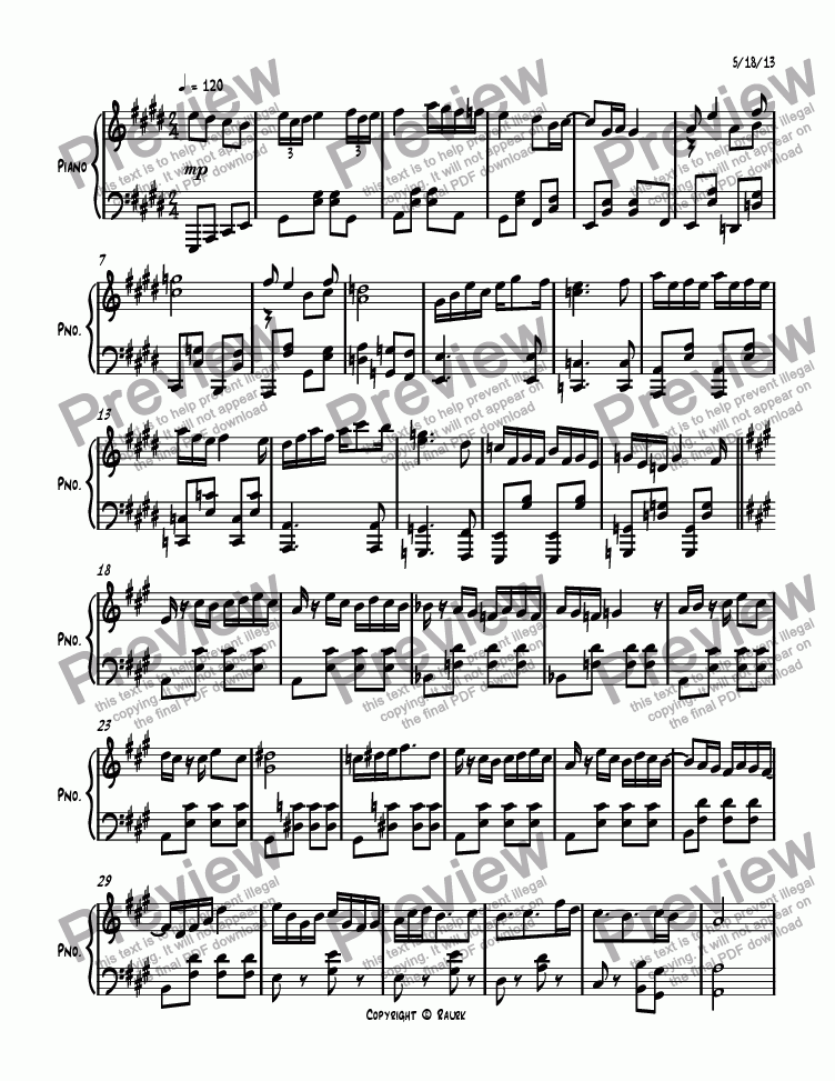 page one of Ragtime #131 in E Major, Op. 276