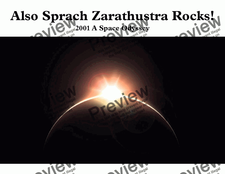 page one of Also Sprach Zarathustra Rocks!  (2001 A Space Odyssey) for Bb Trumpet & Organ (Pro version)