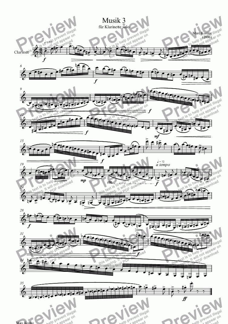 page one of Musik 3 für Klarinette solo