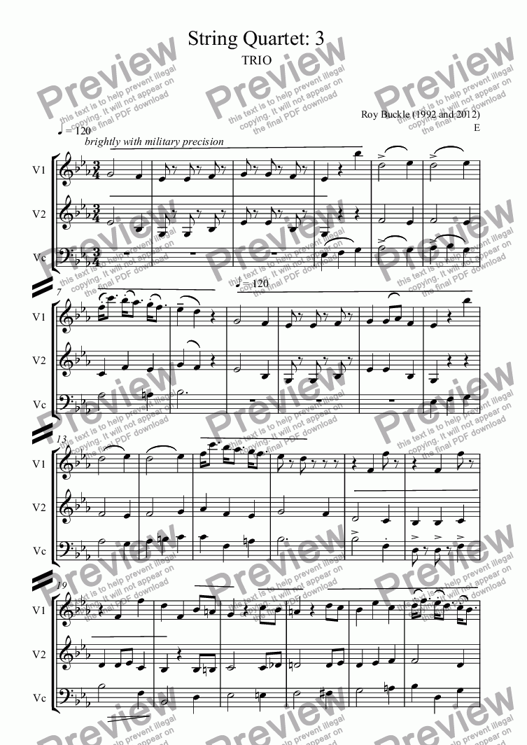 page one of String Quartet: 3