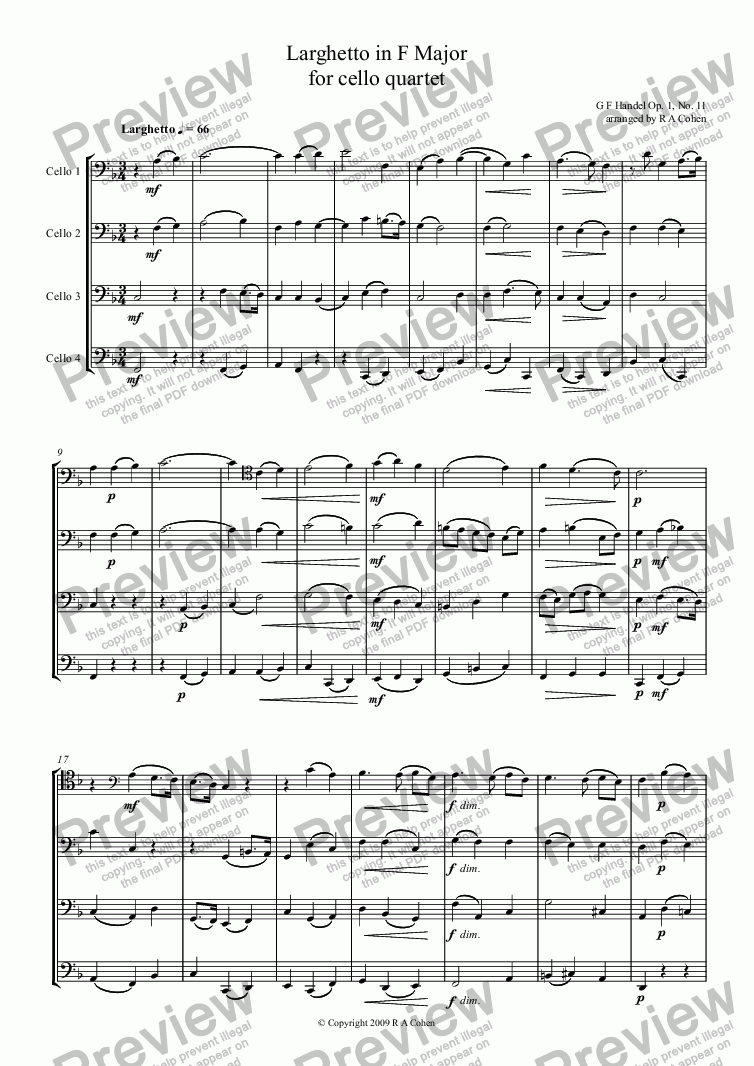 page one of Handel - LARGHETTO in F Major for cello quartet