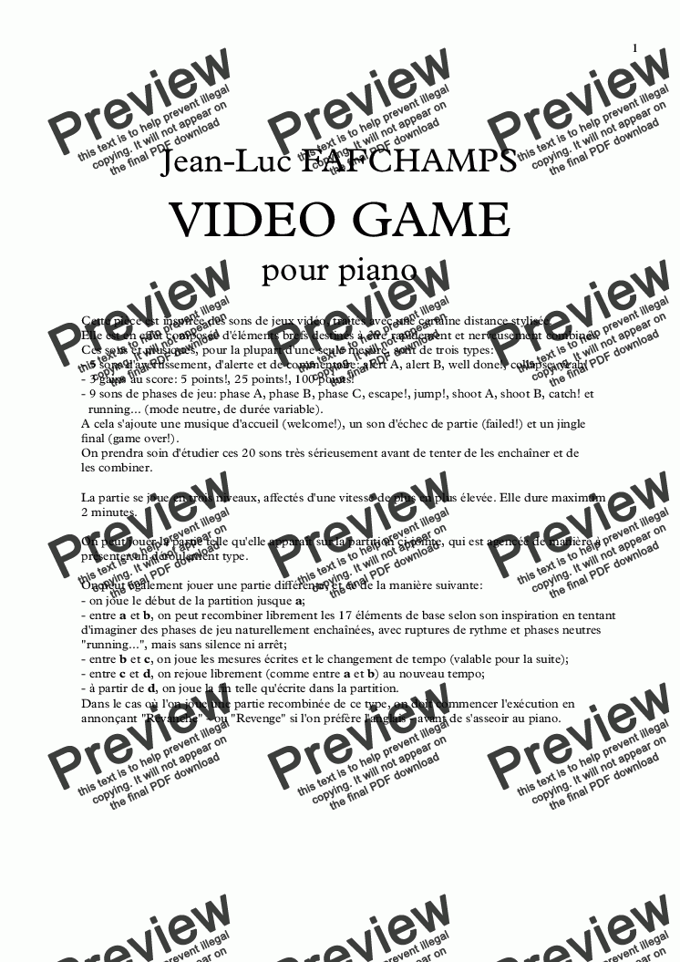 page one of VIDEO GAME