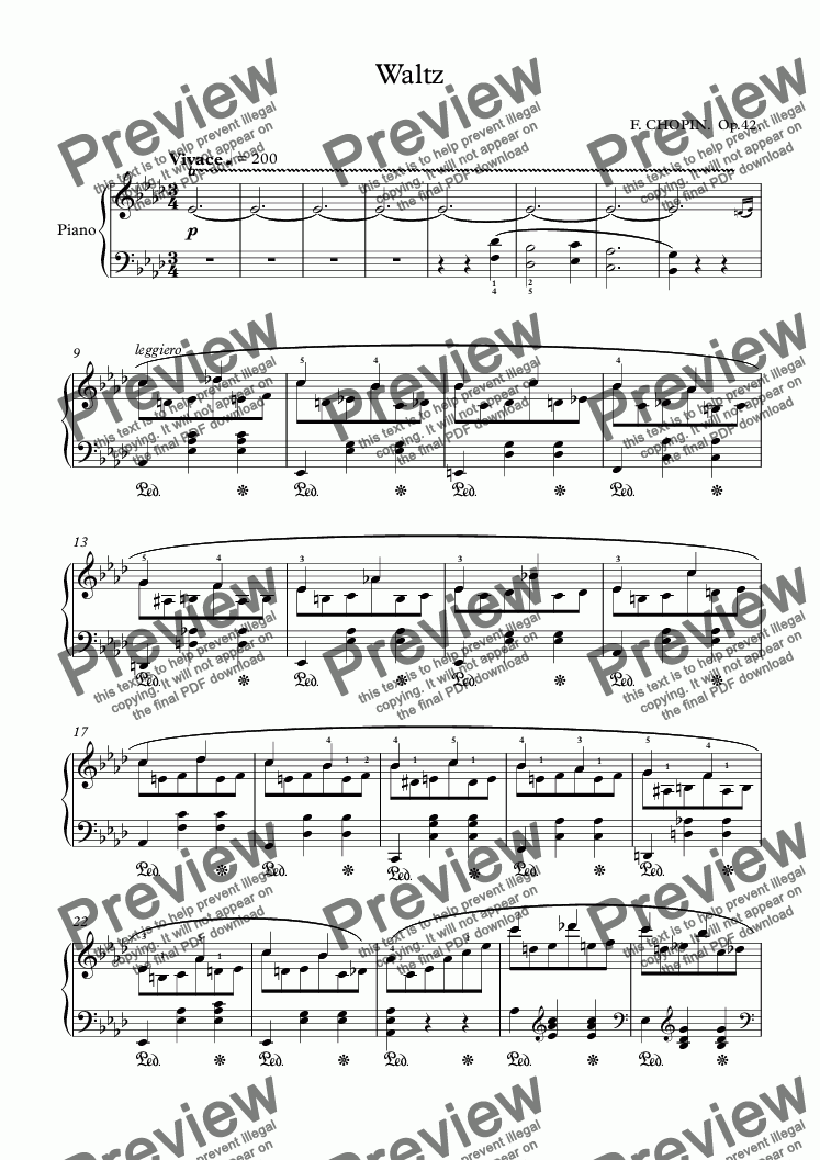 page one of Waltz No.5 (in A flat major)