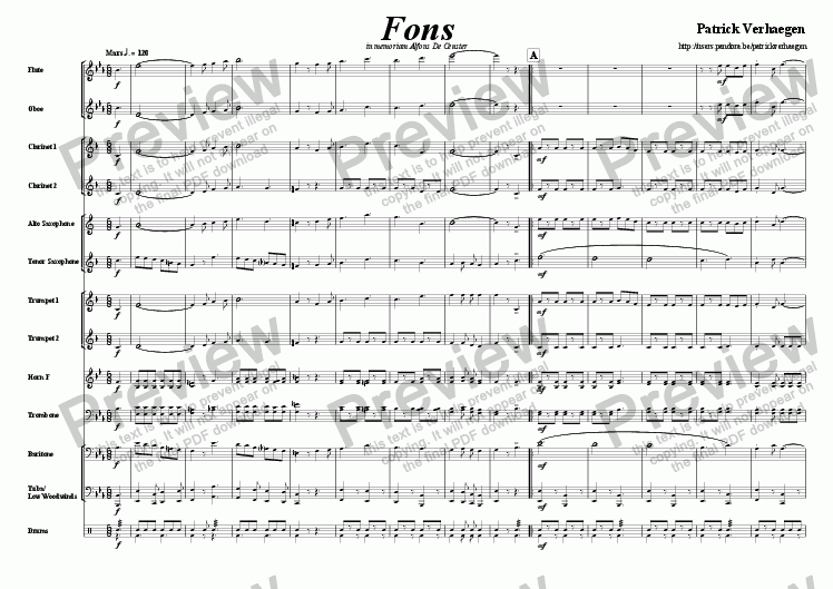page one of Fons (march for wind band)ASALTTEXT