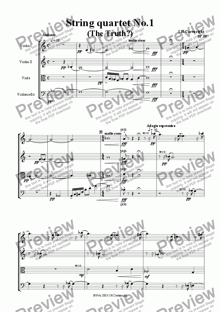 page one of String Quartet No. 1 (The Truth?)