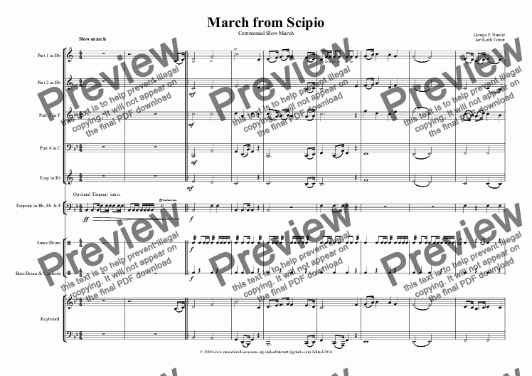 page one of March from Scipio for Brass Quartet, optional KB & Percussion