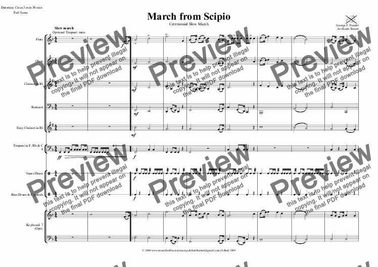 page one of March from Scipio for Wind Quartet & optional KB & Percussion