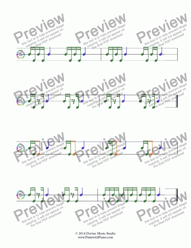 page one of Rhythm Worksheet