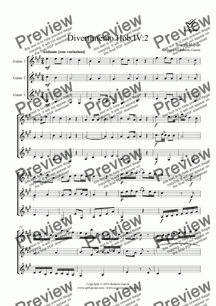 page one of Divertimento Hob.IV:2 for guitar trio
