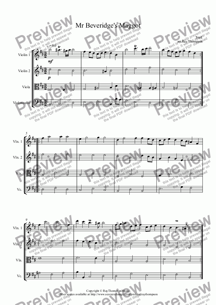 page one of Mr Beveridge's Maggot: (Dance from BBC Pride and Prejudice TV mini series): arranged string quartet