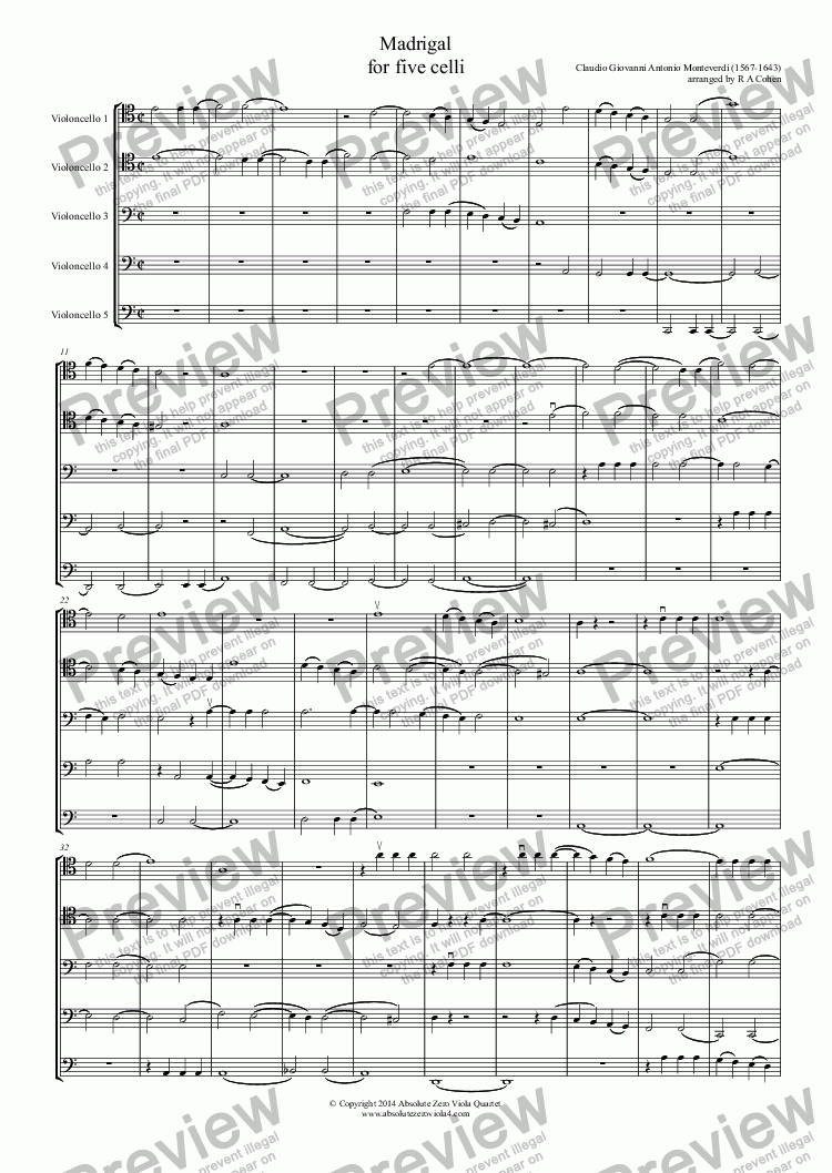 page one of Monteverdi - MADRIGAL - for five celli