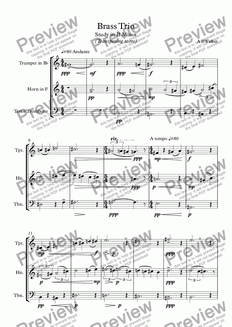 page one of Lostubas (Brass Trio)