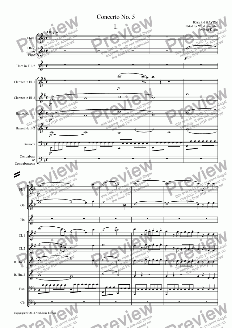 page one of Haydn: Concerto No. 5 (Classical Wind Ensemble)ASALTTEXT