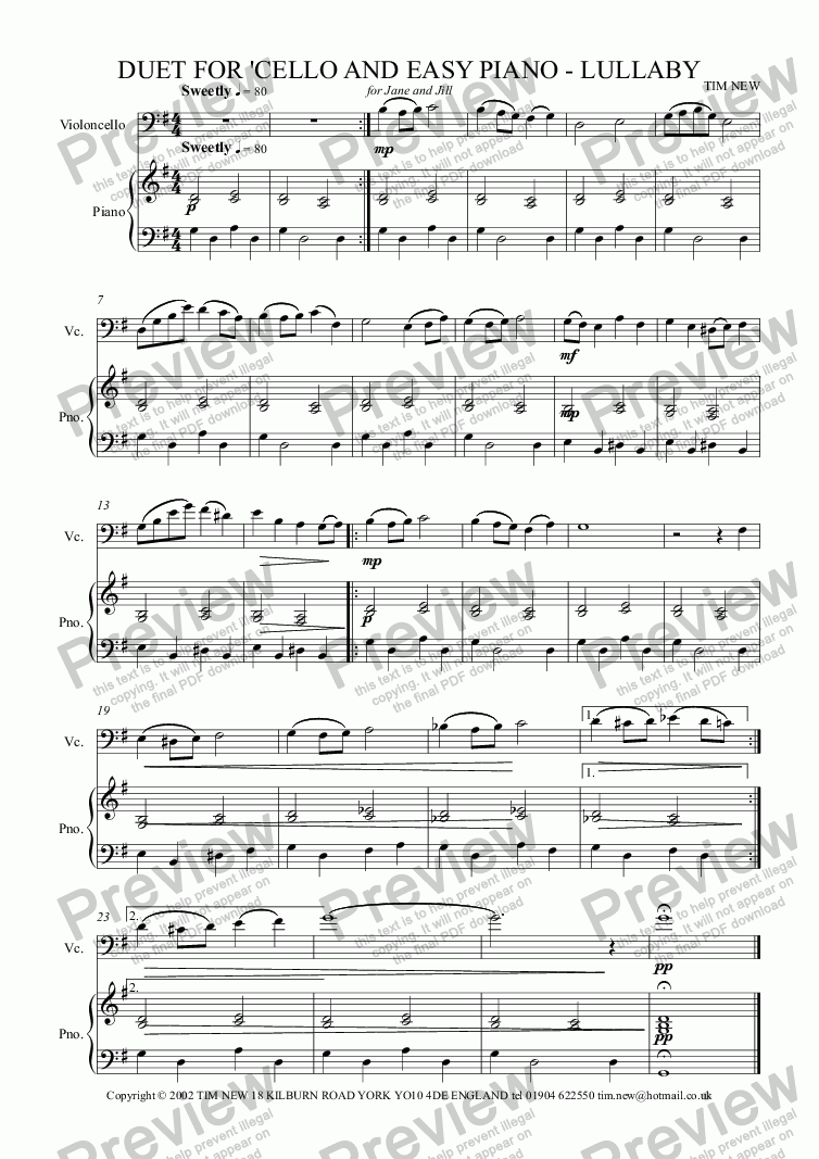 page one of DUET FOR 'CELLO AND EASY PIANO - LULLABY