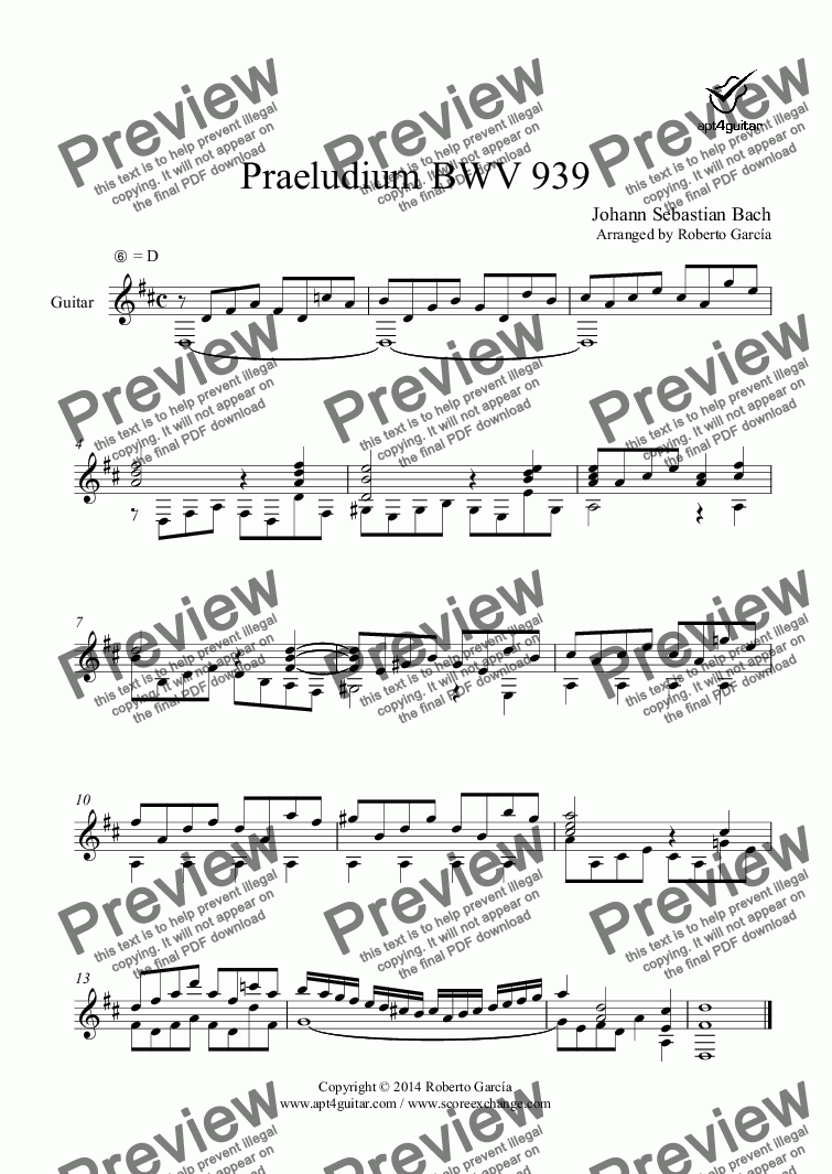 page one of Praeludium BWV 939 for solo guitar
