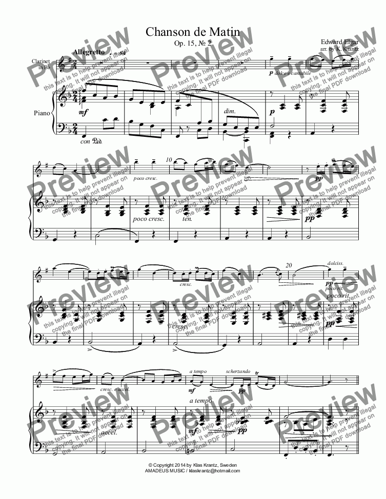 page one of Chanson de Matin for clarinet and piano