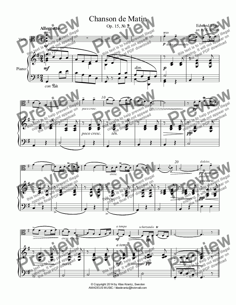 page one of Chanson de Matin viola and piano