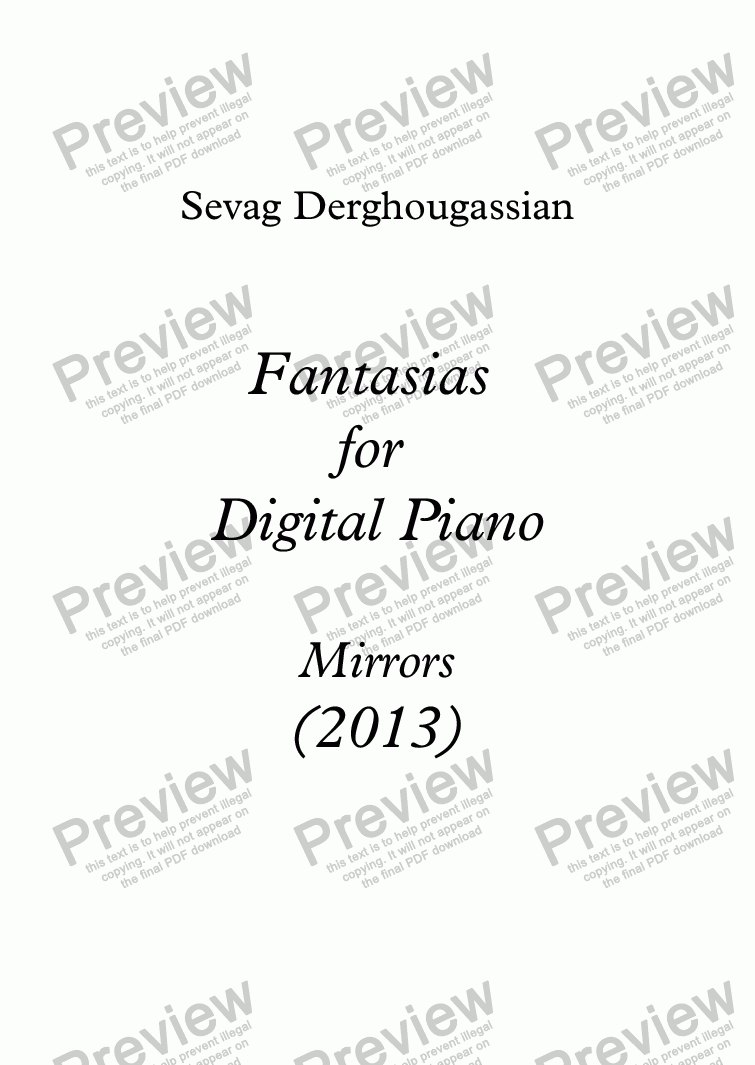 "page one of 3 Fantasias Opus 20 for Digital Piano ""MIRRORS"""