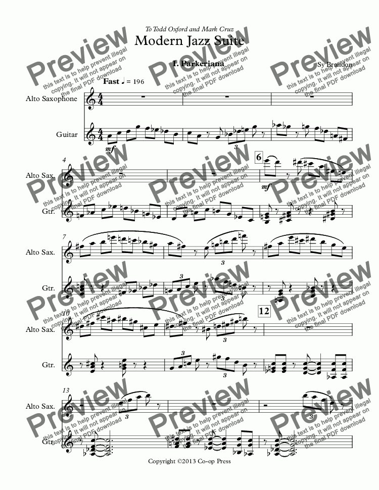 page one of Modern Jazz Suite for Alto Sax and Guitar