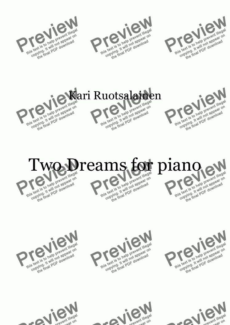 page one of Two Dreams for Piano