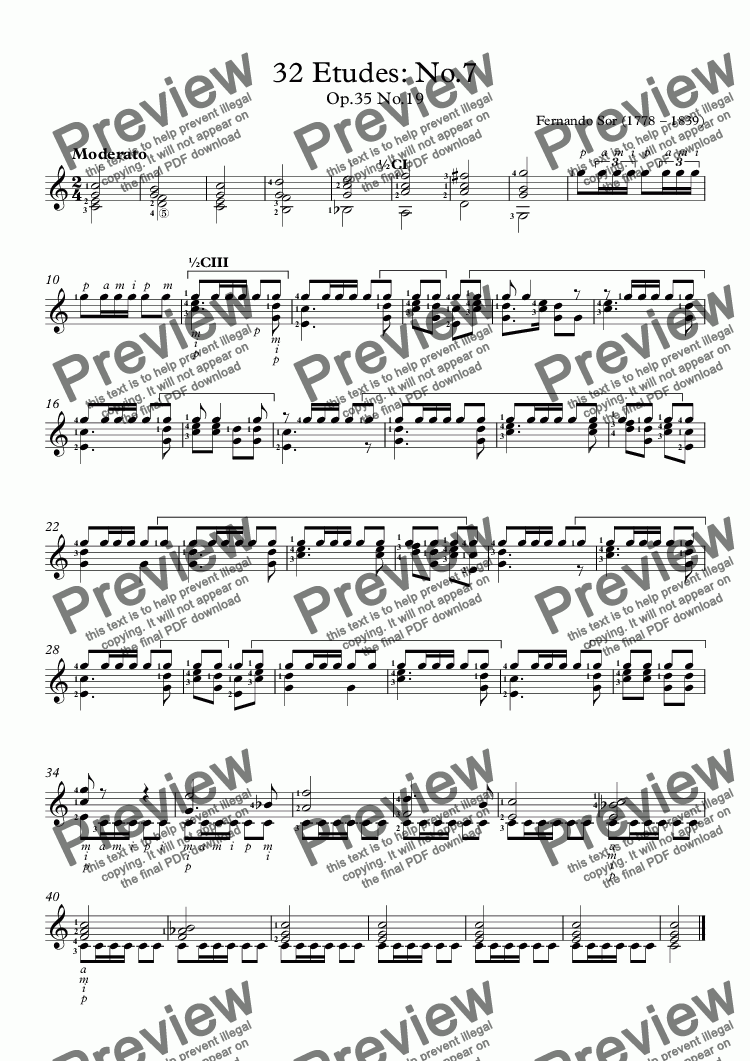 page one of 32 Etudes: No.7