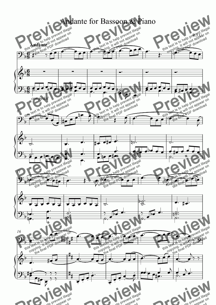 page one of Andante for Bassoon & Piano