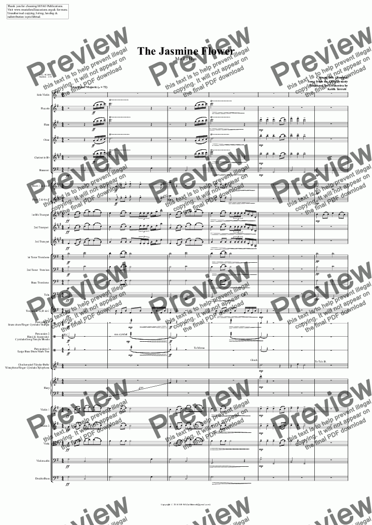 page one of Jasmine Flower (The) for Solo Violin & Symphony Orchestra