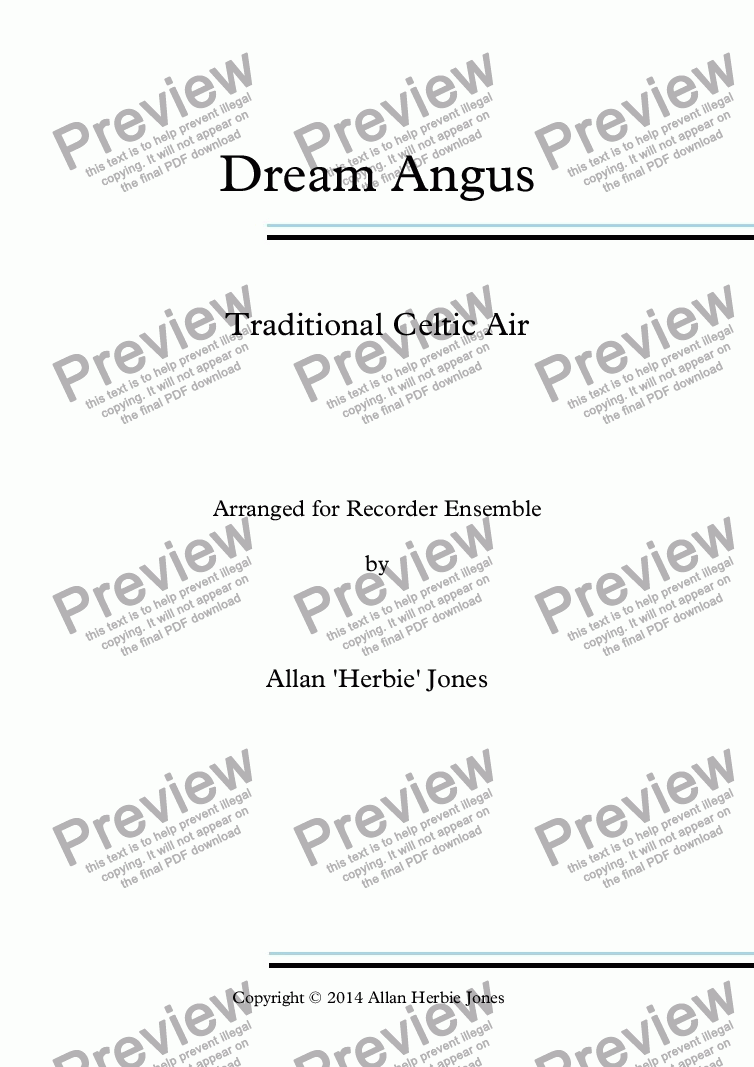 page one of Dream Angus - Recorder Ensemble