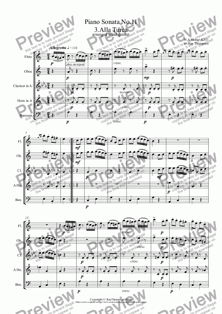 page one of Mozart: Piano Sonata No.11 in A K331: III.Rondo Alla Turca (Turkish March) arranged wind quintet