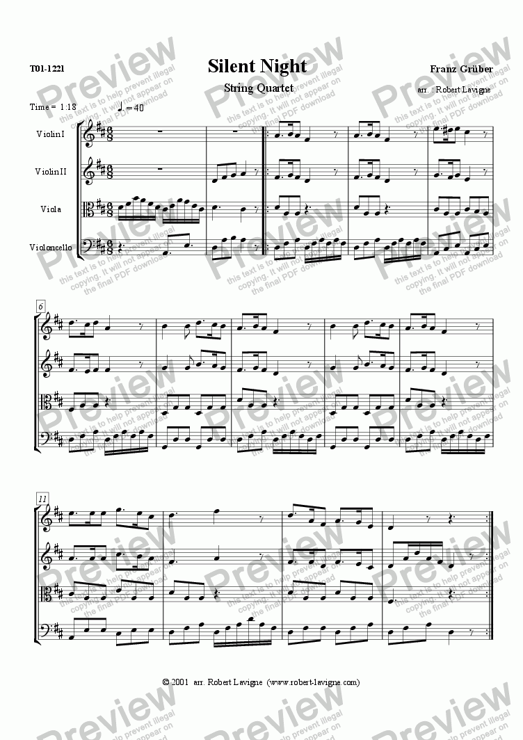 page one of Silent Night (String Quartet)ASALTTEXT