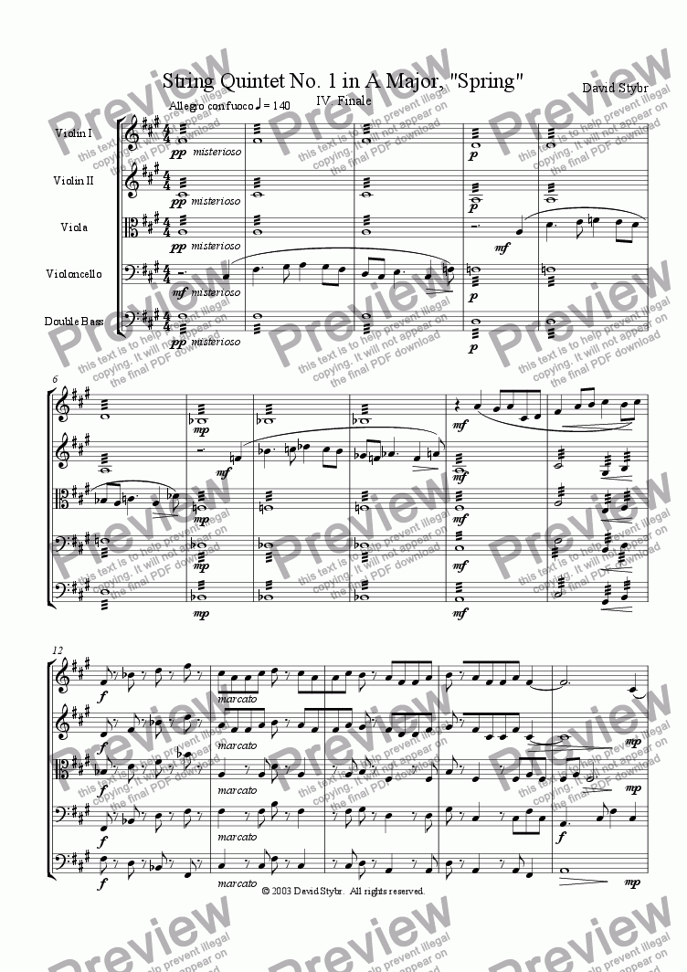 "page one of String Quintet No. 1 in A Major, ""Spring"": IV. Finale"