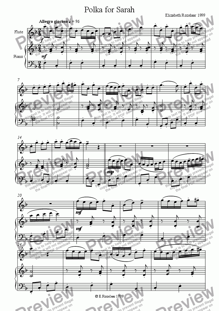 page one of Polka for Sarah