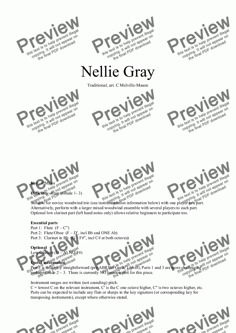 page one of Nellie Gray (Fl, Fl/Ob, Cl)ASALTTEXT