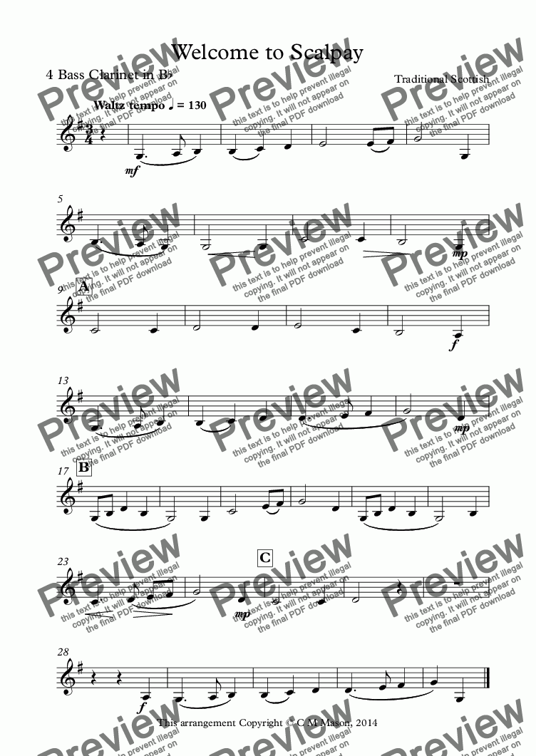 page one of Welcome to Scalpay (Part 4 for Bass Clarinet)ASALTTEXT