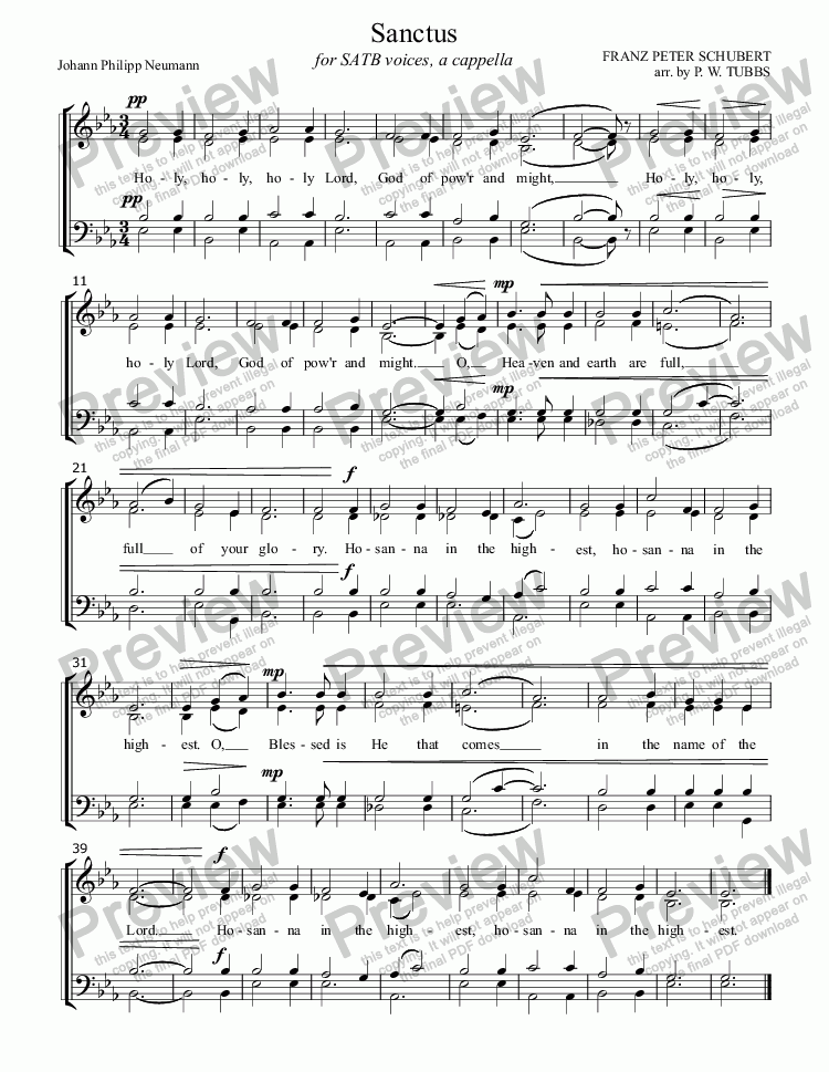 "page one of Sanctus (SCHUBERT) (""Holy, Holy, Holy"" from Deutsche Messe) for SATB mixed voices choir, a cappella, arr. by Pamela Webb Tubbs"