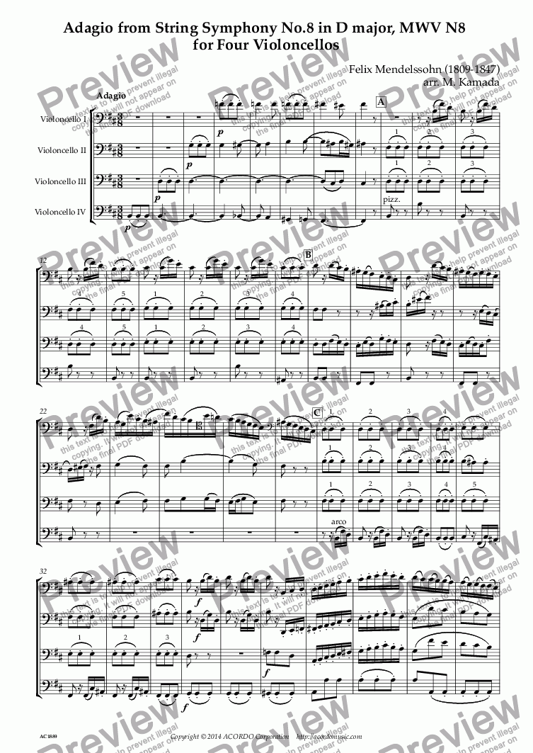 page one of Adagio from String Symphony No.8 in D major, MWV N8  for Four Violoncellos