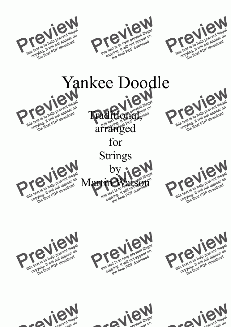 page one of Yankee Doodle for String Orchestra/Quartet