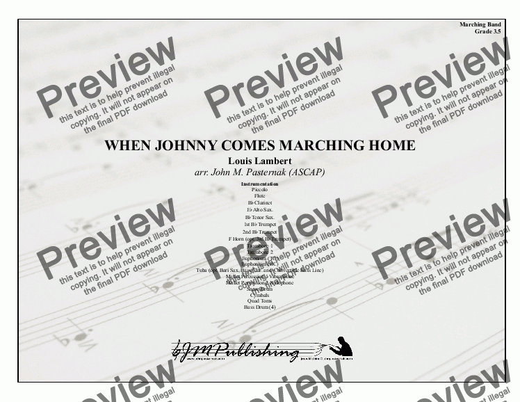 page one of When Johnny Comes Marching Home