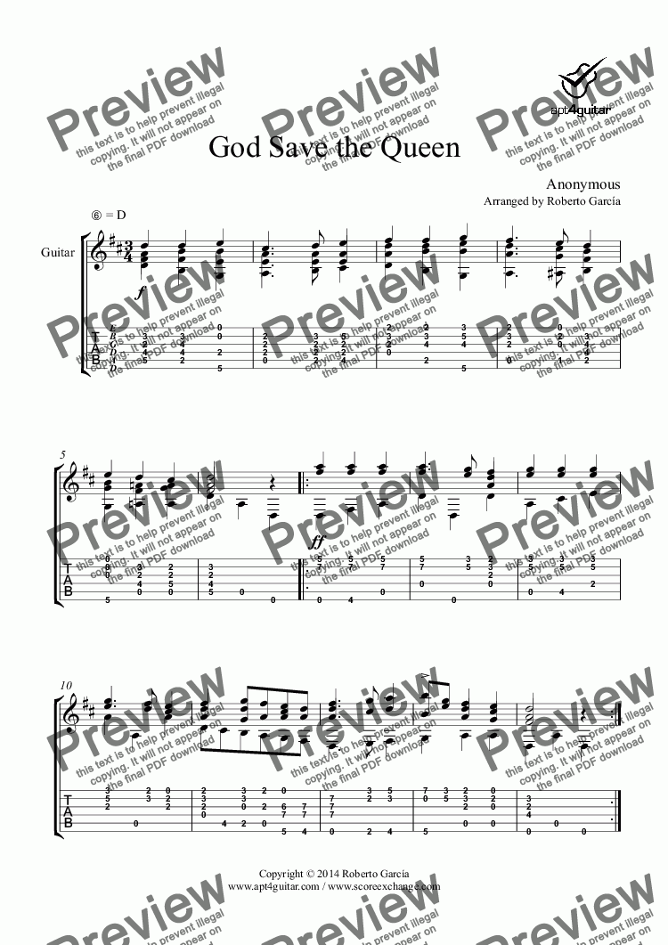 page one of God Save the Queen for solo guitar