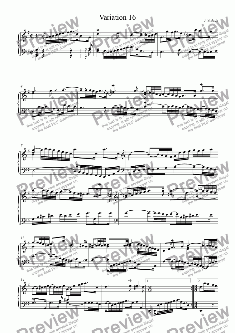 page one of J.S.Bach - Goldberg Variations  16