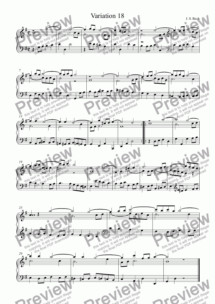 page one of J.S.Bach - Goldberg Variations  18