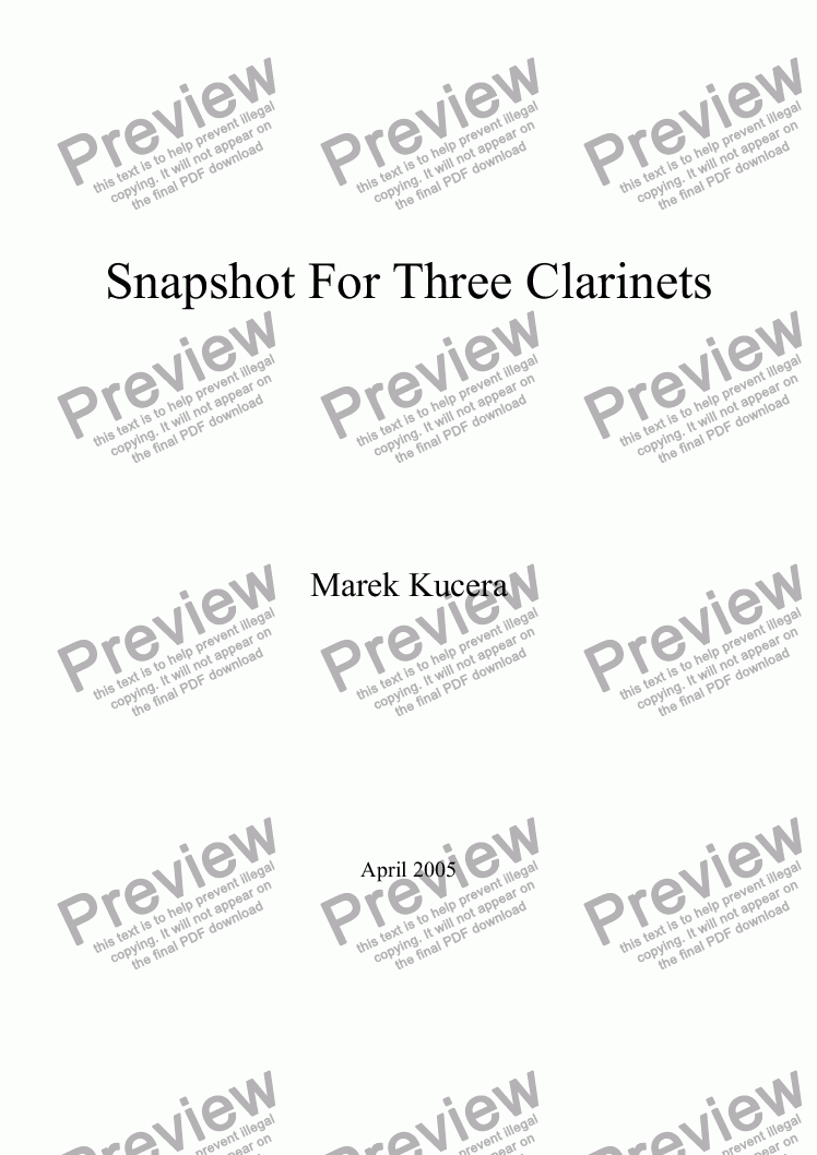 page one of Snapshot For Three Clarinets