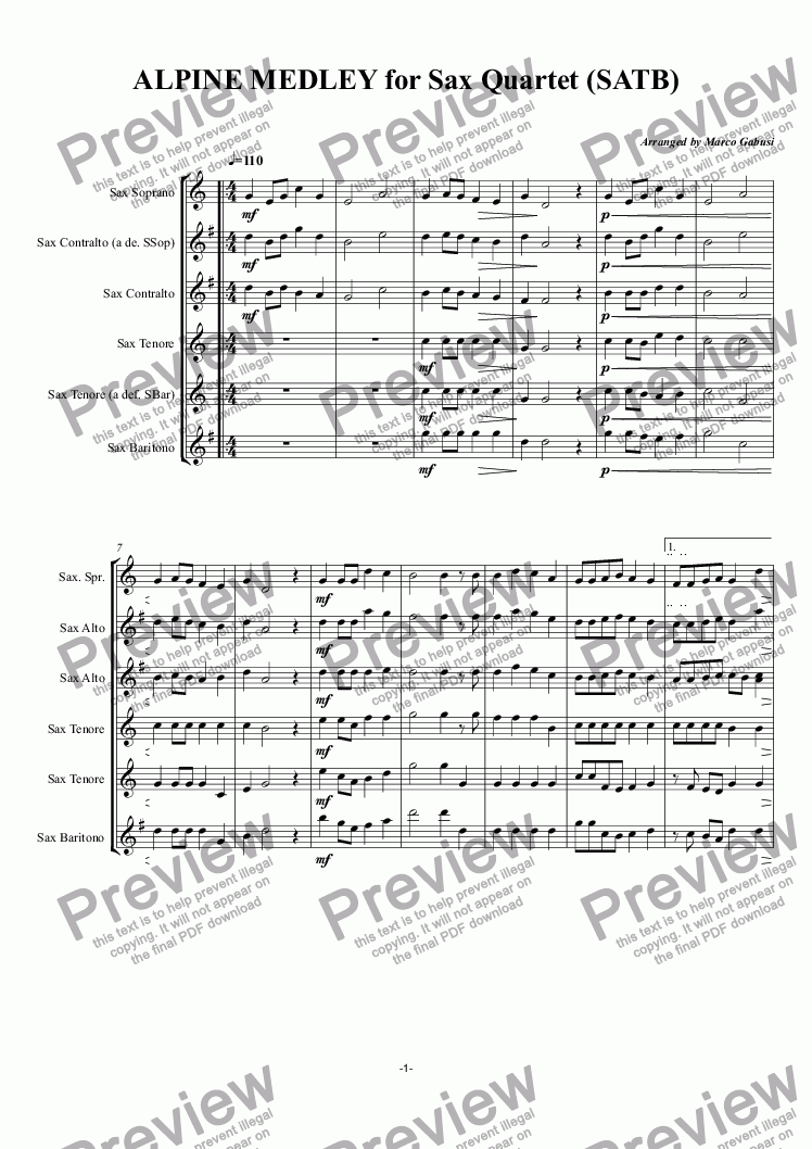 page one of ALPINE MEDLEY for Sax Quartet (SATB)ASALTTEXT