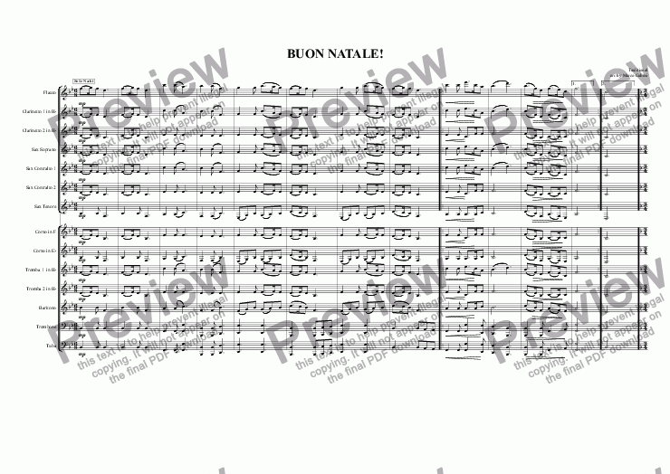page one of BUON NATALE! Merry Christmas! for Concert Band