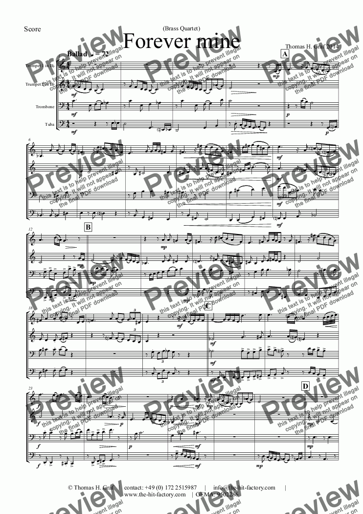 page one of Forever mine - Ballad (Brass Quartet)