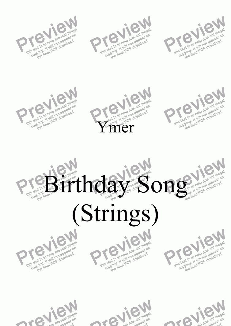 page one of Birthday Song (Strings)ASALTTEXT