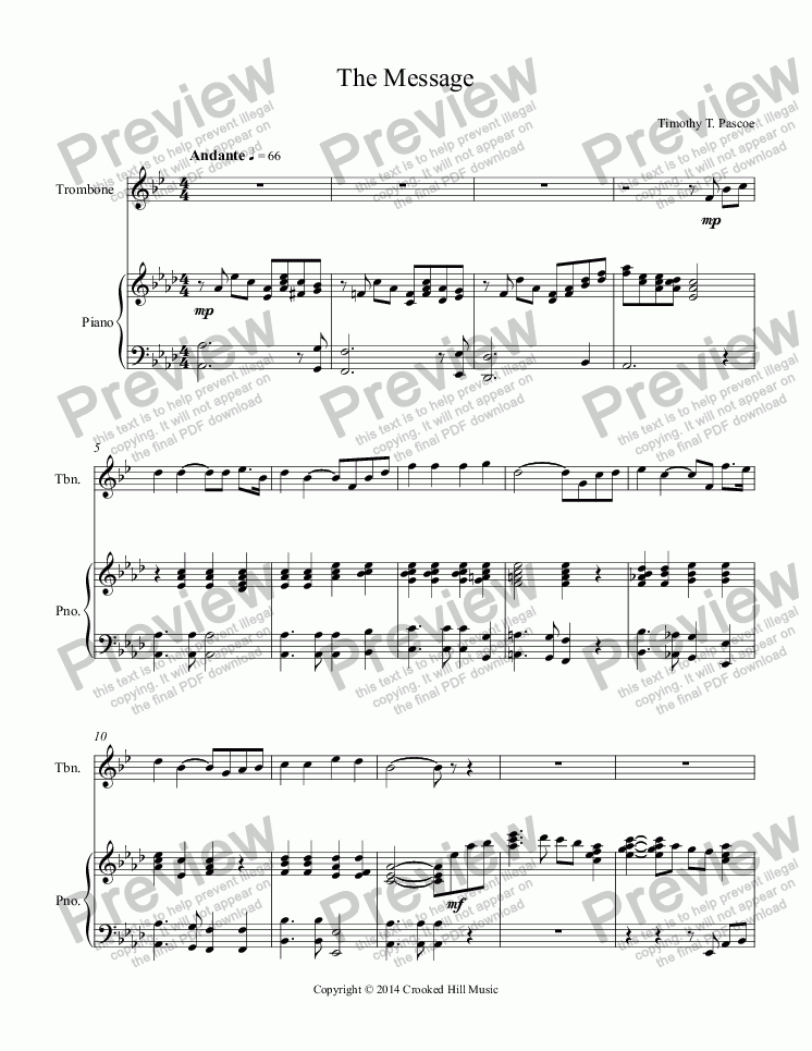 page one of Trombone Solo -The Message