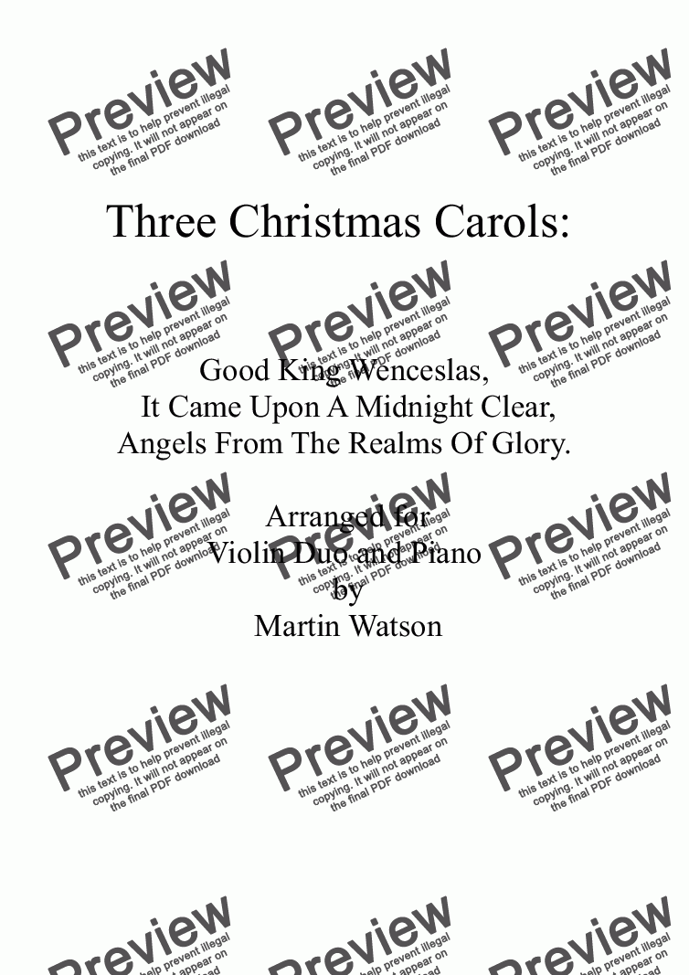 page one of Three Christmas Carols for Two Violins and Piano