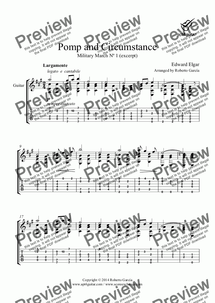 page one of Pomp and Circumstance for solo guitar