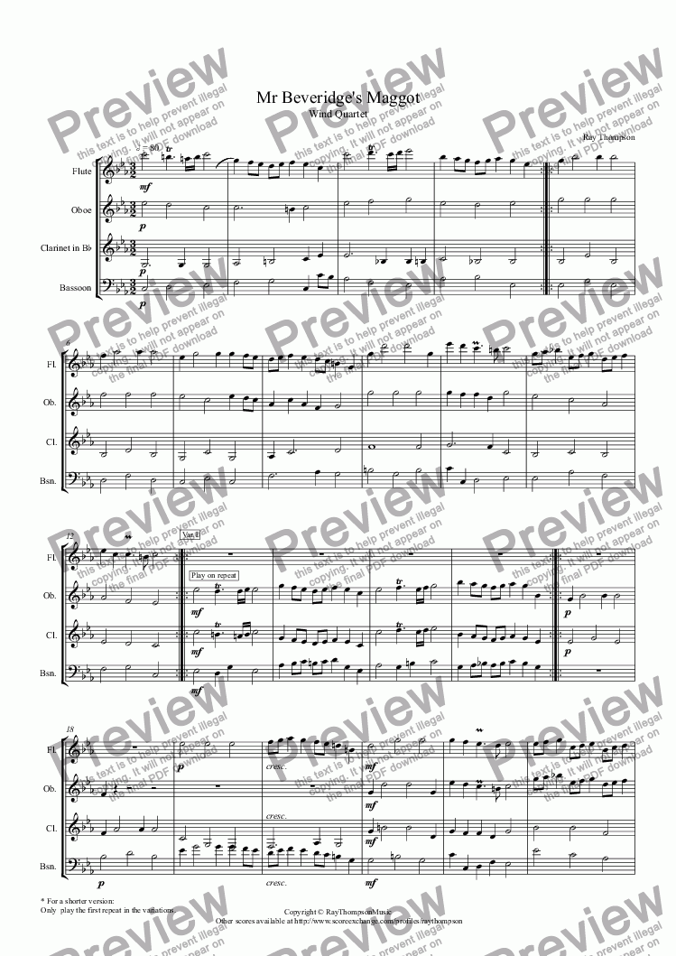 "page one of ""Mr Beveridge's Maggot"" (Extended Version: Theme and Variations)(Dance from BBC Pride and Prejudice TV mini series) arranged wind quartet"